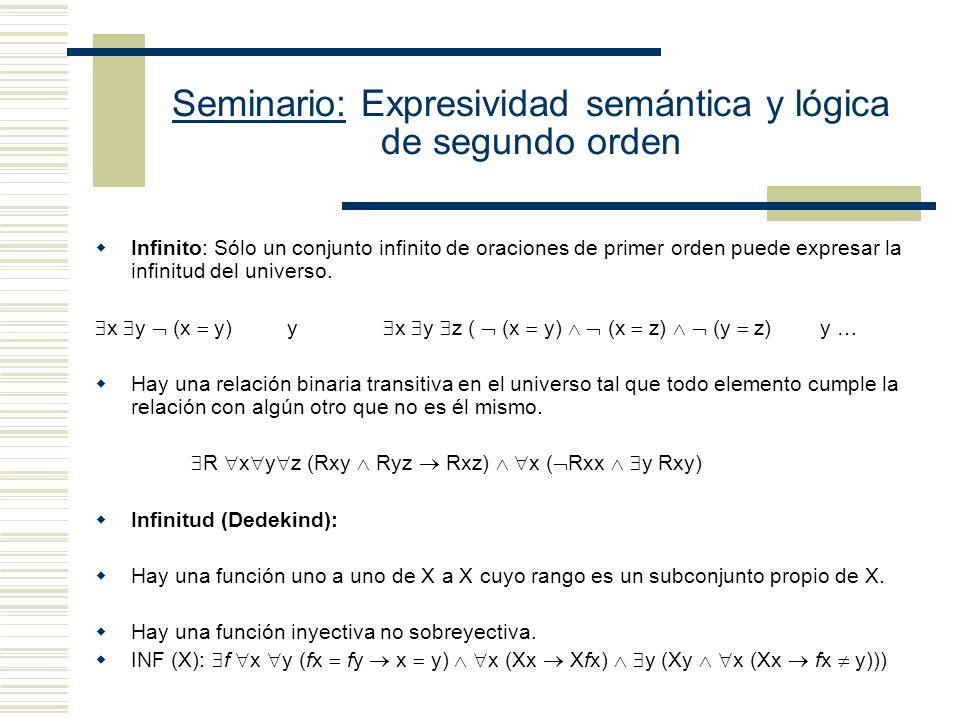 Seminario: Expresividad semántica y lógica de segundo orden Sucesor x Sx 0 x(x < Sx): Cada número es menor a su sucesor. Orden: x y X ((XSx u (Xu Xsu)