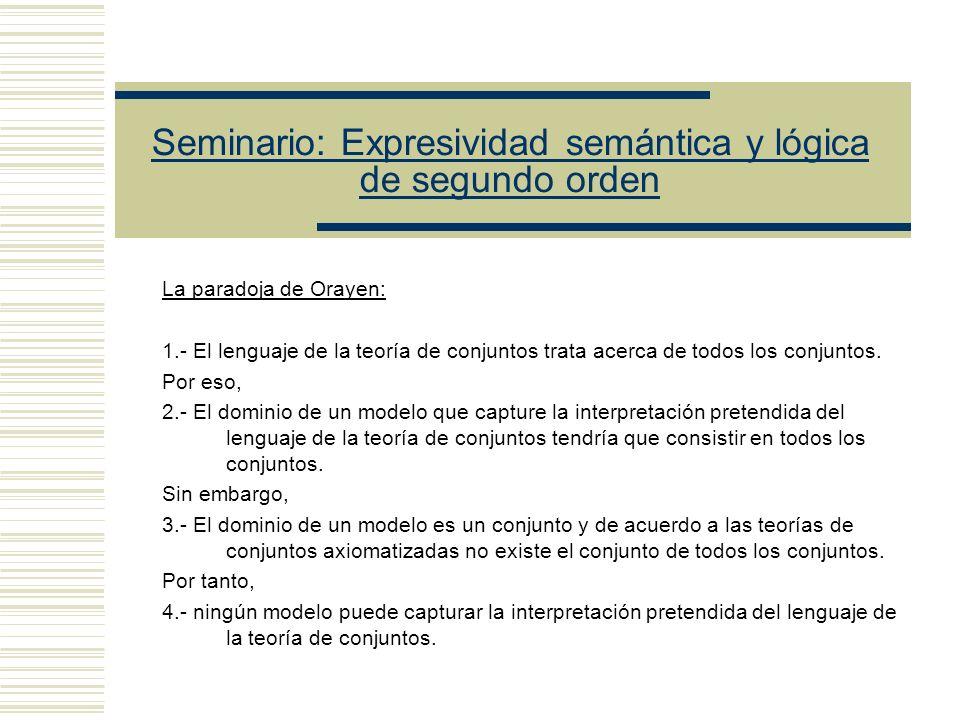 Seminario: Expresividad semántica y lógica de segundo orden Axioma de Separación: Lectura Plural Hay algunos conjuntos tales que ( z) ( y) ( x) (x y (