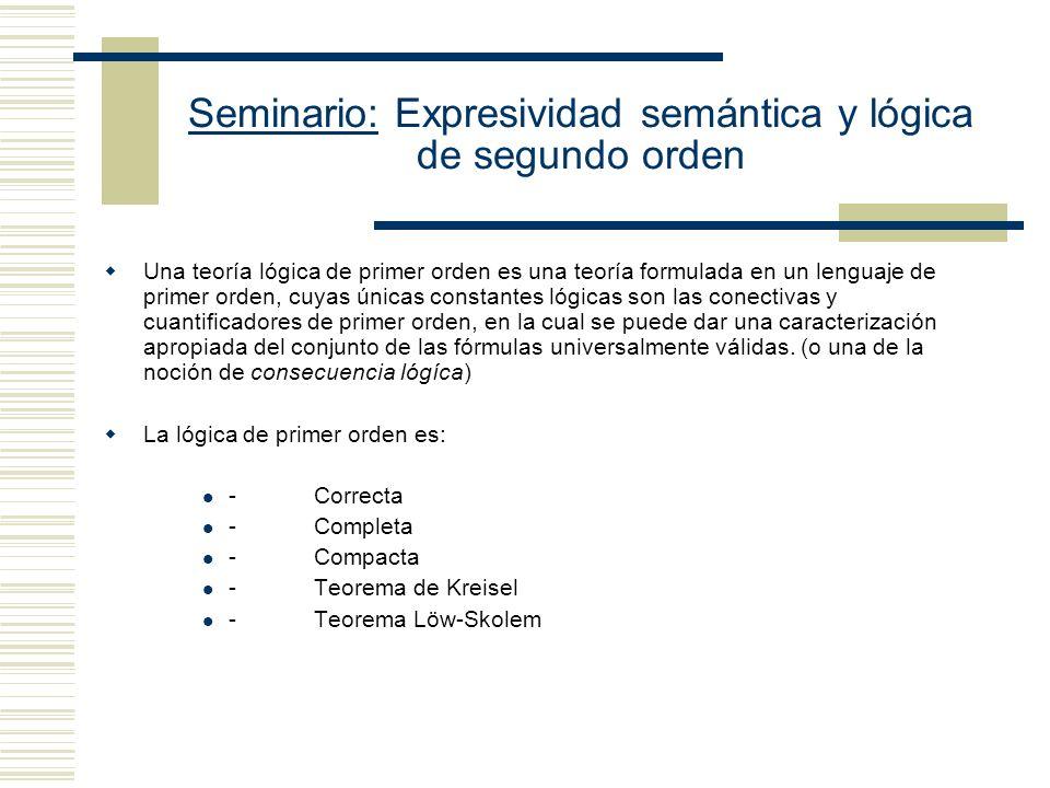 Seminario: Expresividad semántica y lógica de segundo orden Expresividad de los lenguajes de segundo orden -Los lenguajes formales de primer orden tienen variables cuyo rango abarca objetos.