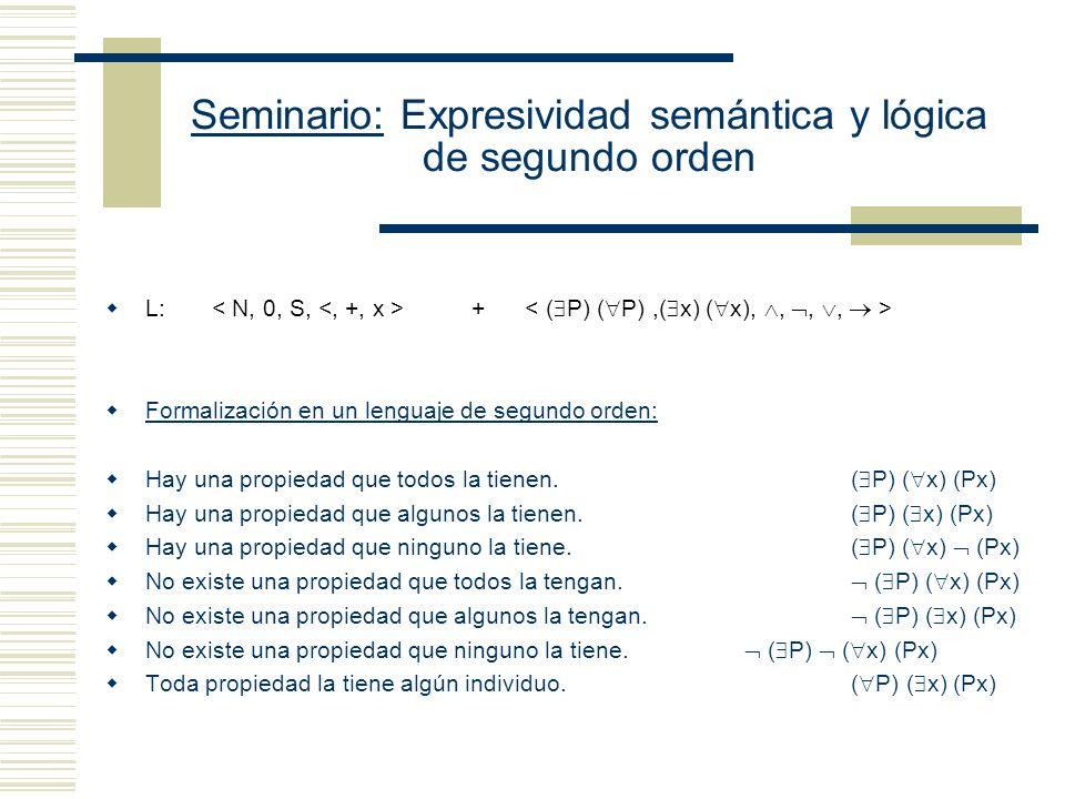 Seminario: Expresividad semántica y lógica de segundo orden Una teoría lógica de primer orden es una teoría formulada en un lenguaje de primer orden, cuyas únicas constantes lógicas son las conectivas y cuantificadores de primer orden, en la cual se puede dar una caracterización apropiada del conjunto de las fórmulas universalmente válidas.