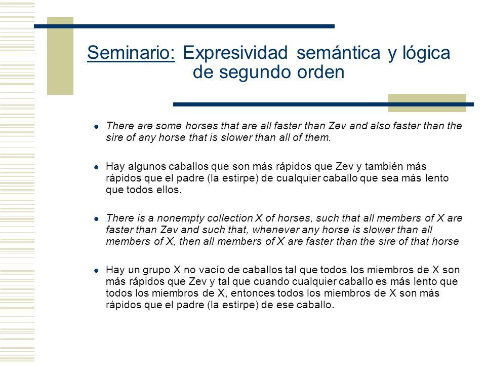 Seminario: Expresividad semántica y lógica de segundo orden Axioma de Separación: Lectura Plural Hay algunos conjuntos tales que ( z) ( y) ( x) (x y (x z x es uno de ellos)) Lectura en segundo orden X ( z) ( y) ( x) (x y (x z Xx))