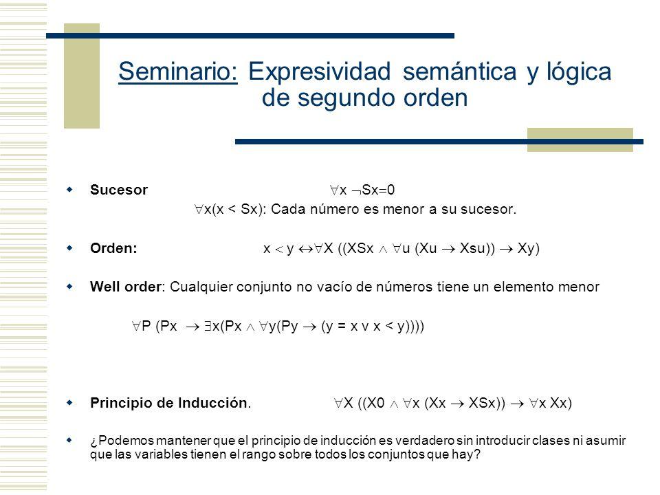 Seminario: Expresividad semántica y lógica de segundo orden Sucesor x Sx 0 x(x < Sx): Cada número es menor a su sucesor.