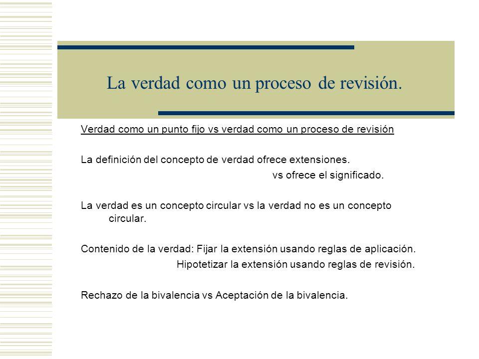 La verdad como un proceso de revisión. Lectura de los bicondicionales (T) (T) T(« ») Mn+1 = Mn (The Liar) es verdadero = def Esta oración es falsa imp