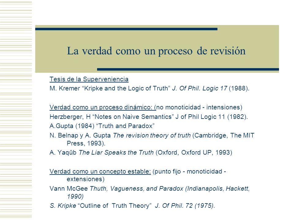 La verdad como un proceso de revisión Tesis de la Superveniencia M.