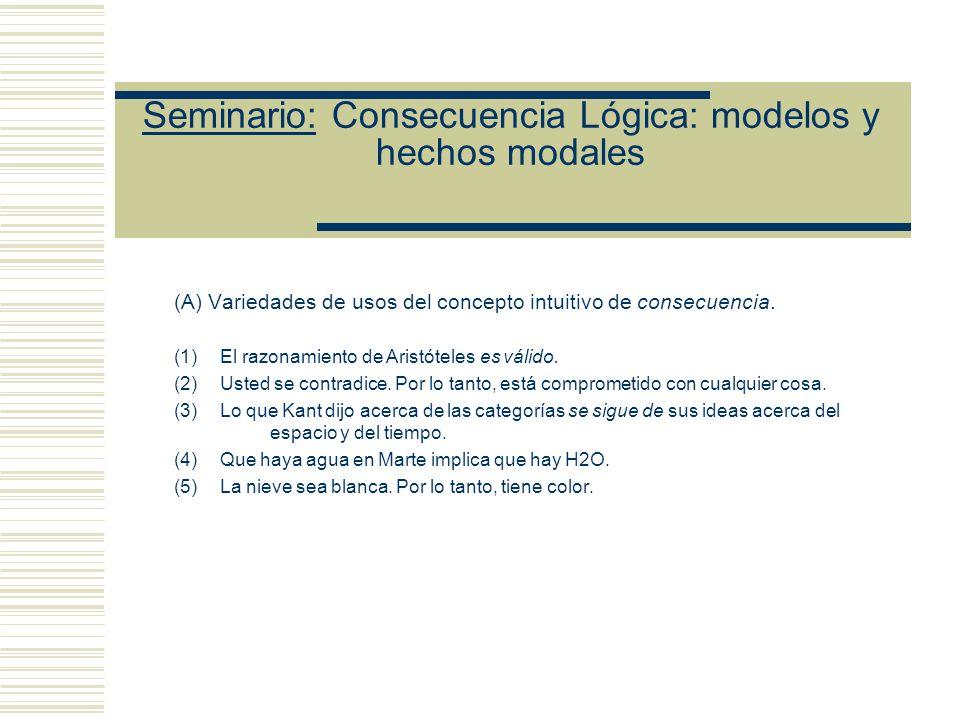 Seminario: Consecuencia Lógica: modelos y hechos modales (A) Variedades de usos del concepto intuitivo de consecuencia.