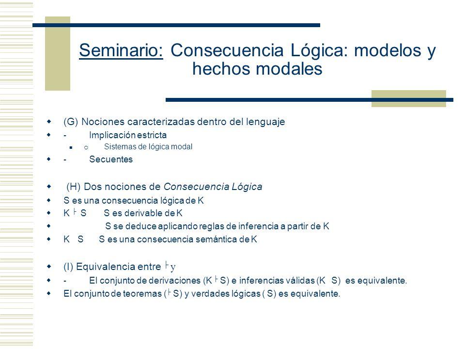 Seminario: Consecuencia Lógica: modelos y hechos modales (F) Nociones metalingüísticas de Consecuencia: I.- Estrategia formal - Caracterizar una noció