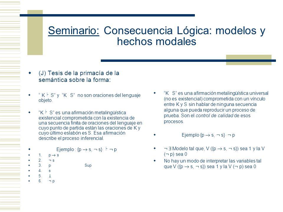 Seminario: Consecuencia Lógica: modelos y hechos modales (G) Nociones caracterizadas dentro del lenguaje - Implicación estricta o Sistemas de lógica m