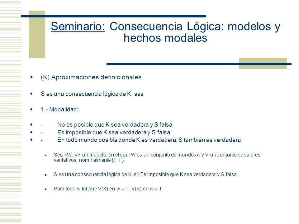 Seminario: Consecuencia Lógica: modelos y hechos modales (J) Tesis de la primacía de la semántica sobre la forma: K S y K S no son oraciones del lengu