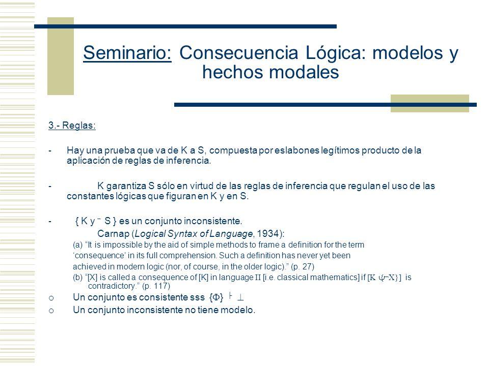 Seminario: Consecuencia Lógica: modelos y hechos modales (K) Aproximaciones definicionales S es una consecuencia lógica de K sss 1.- Modalidad: - No e