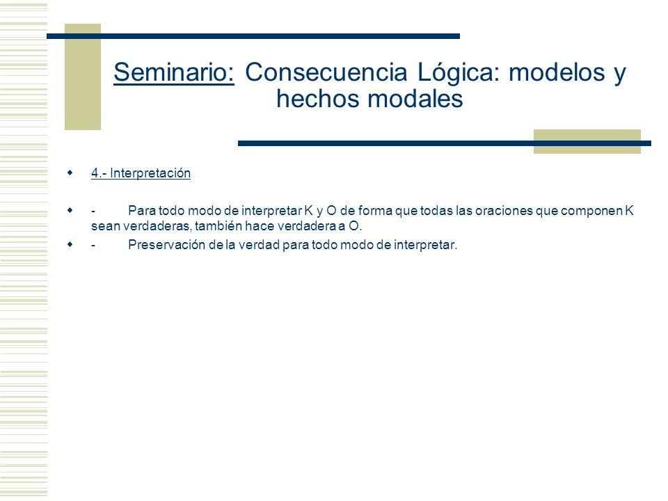 Seminario: Consecuencia Lógica: modelos y hechos modales 3.- Reglas: - Hay una prueba que va de K a S, compuesta por eslabones legítimos producto de l