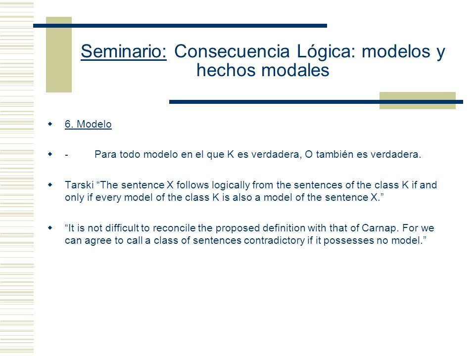 Seminario: Consecuencia Lógica: modelos y hechos modales 5.- Sustitución: - No hay una sustitución uniforme de todos las expresiones no lógicas que fi