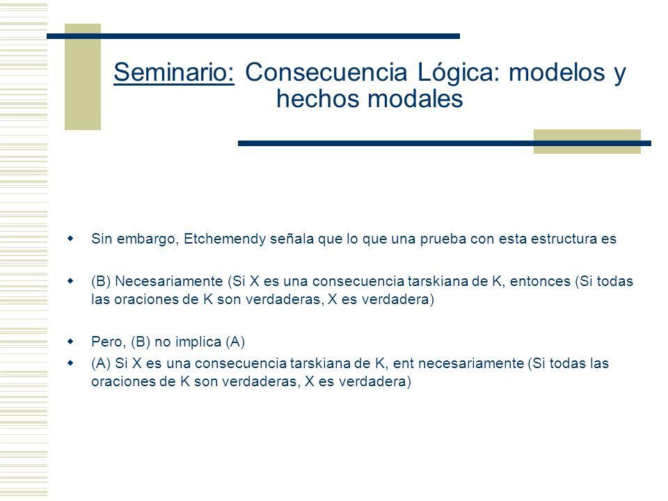 Seminario: Consecuencia Lógica: modelos y hechos modales 3.- Tarski comete una falacia modal cuando argumenta que su explicación captura el concepto i