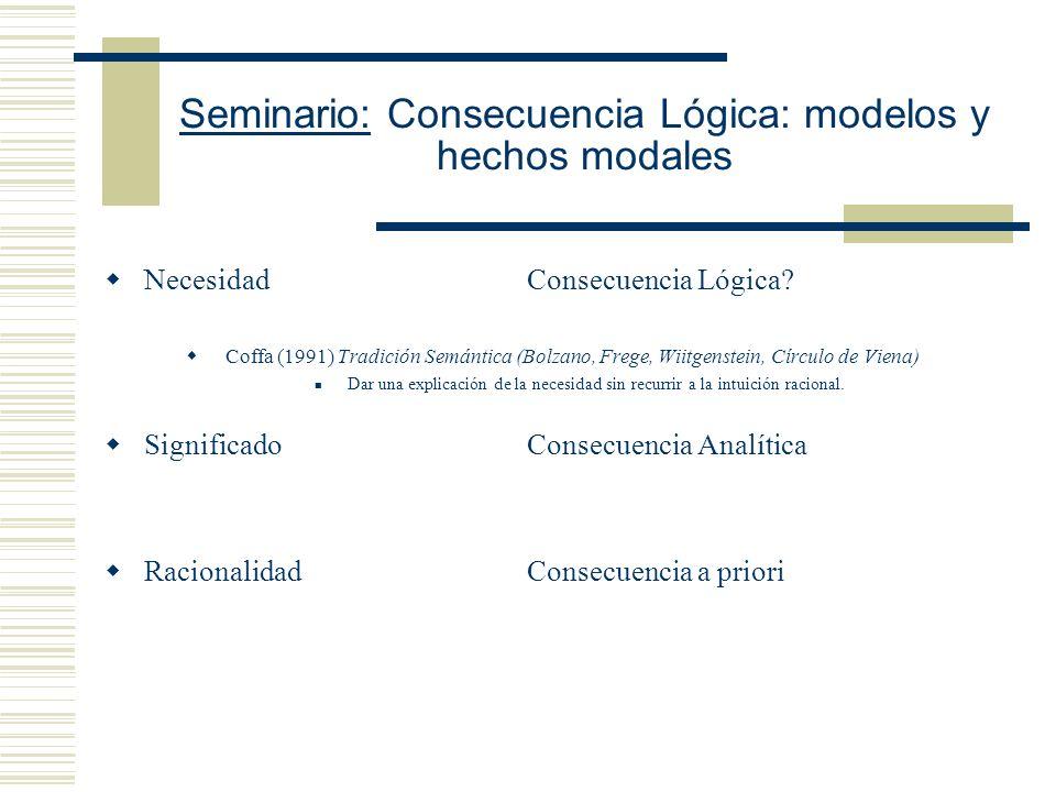 Seminario: Consecuencia Lógica: modelos y hechos modales B.- Consecuencia Material a priori Analítica Metafísica lógica - S es una consecuencia materi