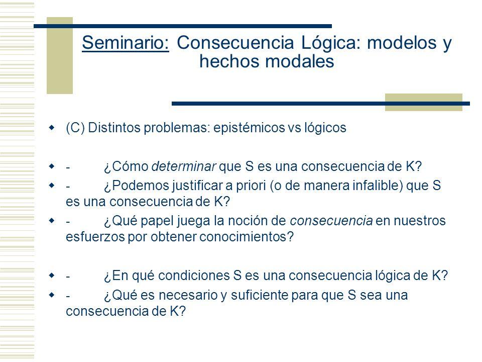Seminario: Consecuencia Lógica: modelos y hechos modales (C) Distintos problemas: epistémicos vs lógicos - ¿Cómo determinar que S es una consecuencia de K.