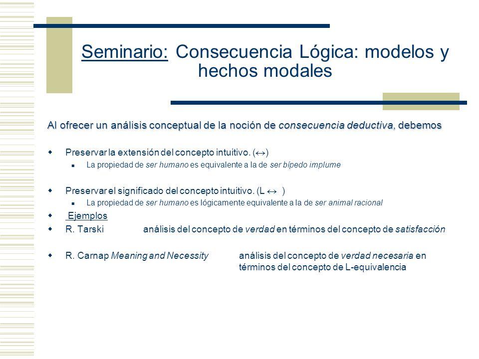 Seminario: Consecuencia Lógica: modelos y hechos modales Al ofrecer un análisis conceptual de la noción de consecuencia deductiva, debemos Preservar la extensión del concepto intuitivo.