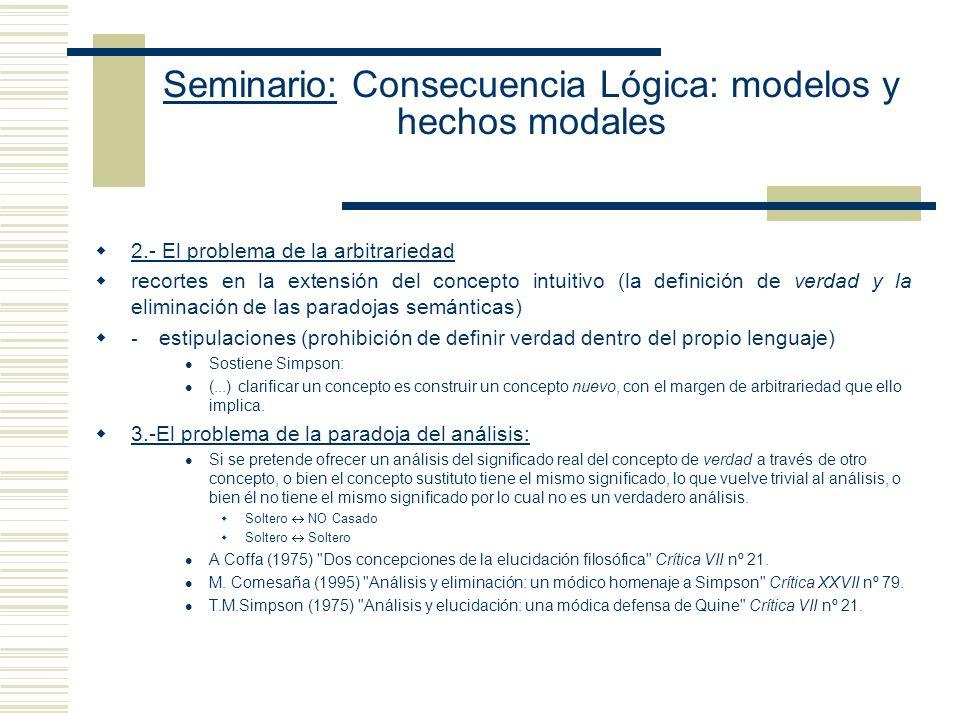 Seminario: Consecuencia Lógica: modelos y hechos modales Al ofrecer un análisis conceptual de la noción de consecuencia deductiva, debemos Preservar l