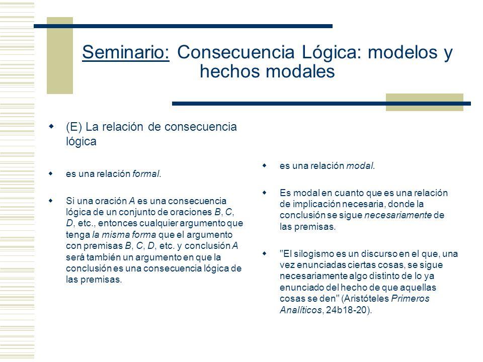 Seminario: Consecuencia Lógica: modelos y hechos modales 2.- El problema de la arbitrariedad recortes en la extensión del concepto intuitivo (la defin