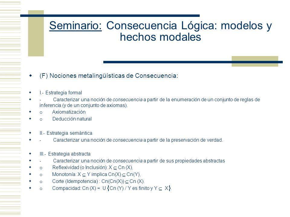 Seminario: Consecuencia Lógica: modelos y hechos modales (F) Nociones metalingüísticas de Consecuencia: I.- Estrategia formal - Caracterizar una noción de consecuencia a partir de la enumeración de un conjunto de reglas de inferencia (y de un conjunto de axiomas).