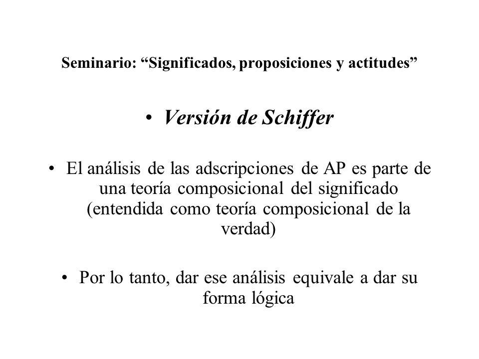 Seminario: Significados, proposiciones y actitudes Versión de Schiffer El análisis de las adscripciones de AP es parte de una teoría composicional del