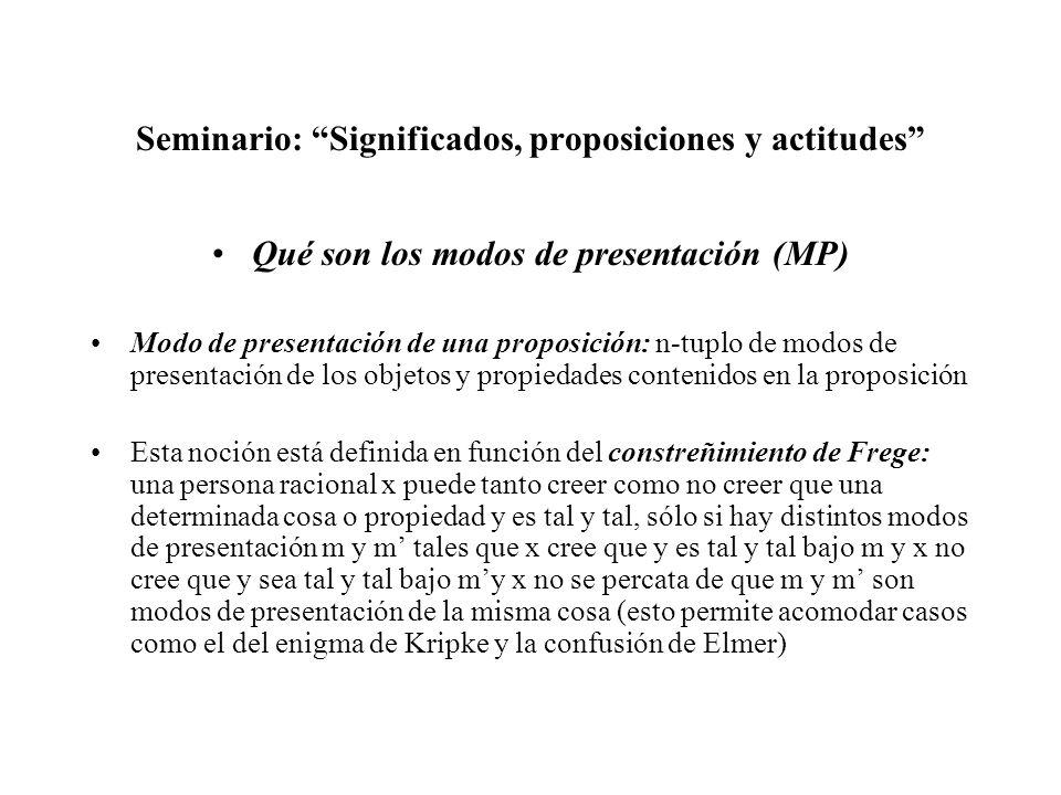 Seminario: Significados, proposiciones y actitudes Qué son los modos de presentación (MP) Modo de presentación de una proposición: n-tuplo de modos de