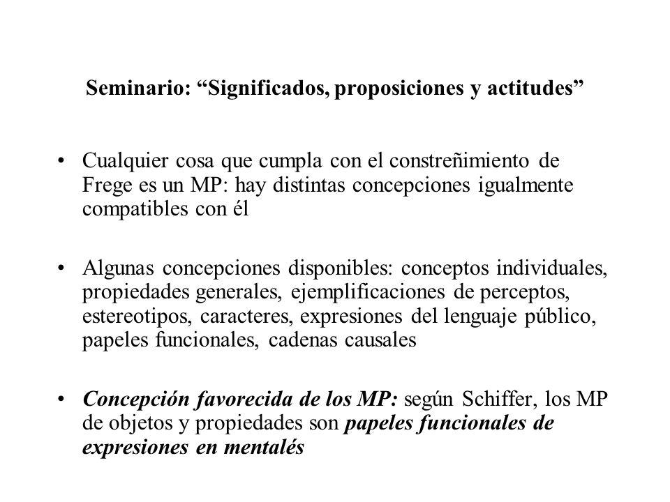 Seminario: Significados, proposiciones y actitudes Cualquier cosa que cumpla con el constreñimiento de Frege es un MP: hay distintas concepciones igua