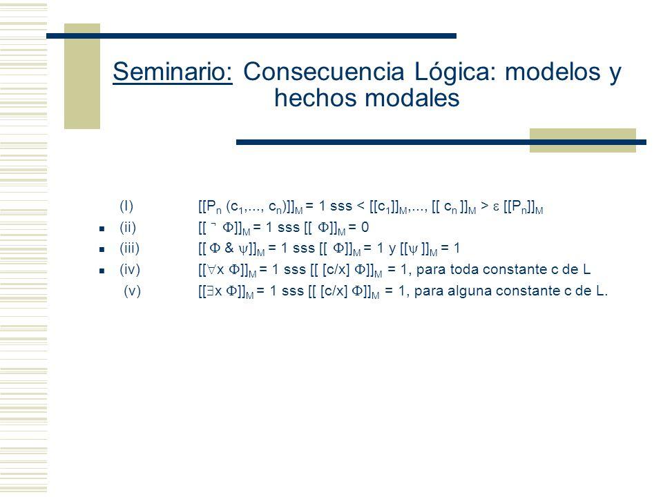 Seminario: Consecuencia Lógica: modelos y hechos modales Enfoque Substitucional: Restricción simplificadora: todos los objetos de D tienen nombre Se reduce la verdad en M de x y de x a la verdad en M de [c/x] Sean D: conjunto de entidades I: función que asigna entidades apropiadas de D a las expresiones de L (i) Si c es una constante de L, entonces I(c ) D (ii) Si P es una letra n-aria de L, entonces I(P) D n (si n es 1, su interpretación es un conjunto) [[c/x]] M = reemplace x por c.