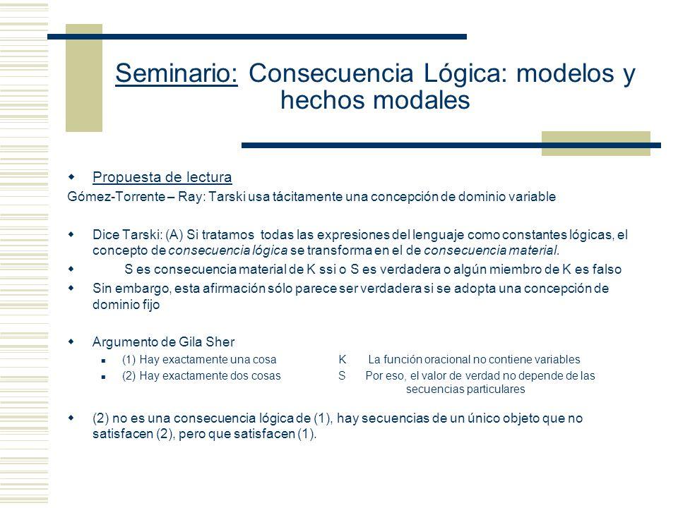 Seminario: Consecuencia Lógica: modelos y hechos modales Argumento de la divergencia (Etchemendy) Sean tarskiana y MT Dada cualquier selección fija de expresiones lingüísticas, tarskiana y MT no son equivalentes, Porque (a) hay casos de una que no son casos de la otra y (b) la tarskiana no puede ser refinada de manera tal de que se convierta en MT Hay al menos dos objetos x x (xx) ¿Es una fórmula universalmente válida.