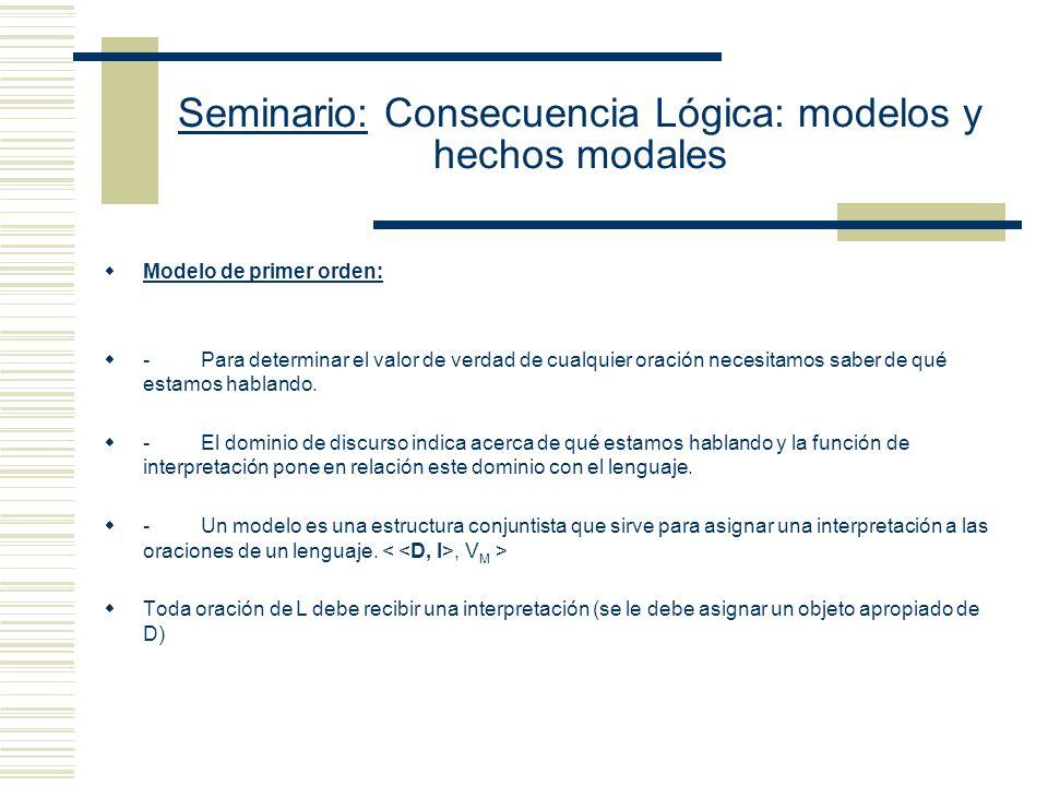 Seminario: Consecuencia Lógica: modelos y hechos modales El ejemplo de Gila Sher apoya (iii) (1) Hay exactamente una cosa (2) Hay exactamente dos cosas Bajo las suposiciones usuales (2) no es una consecuencia lógica de (1) porque en el enfoque de dominio relativizado hay secuencias de objetos de un único integrante que Sat (1), pero no (2).