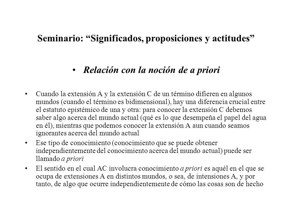 Seminario: Significados, proposiciones y actitudes Relación con la noción de a priori Cuando la extensión A y la extensión C de un término difieren en