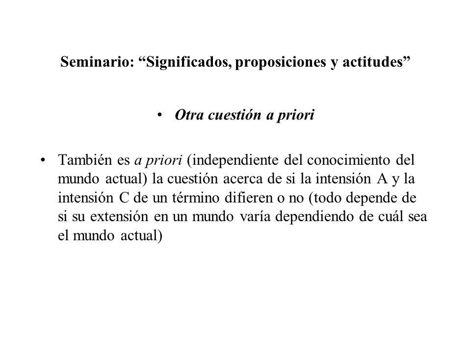 Seminario: Significados, proposiciones y actitudes Otra cuestión a priori También es a priori (independiente del conocimiento del mundo actual) la cue