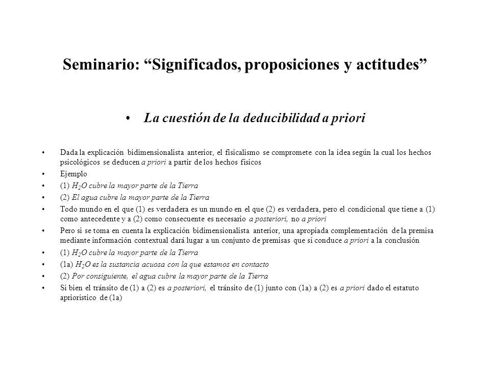 Seminario: Significados, proposiciones y actitudes La cuestión de la deducibilidad a priori Dada la explicación bidimensionalista anterior, el fisical