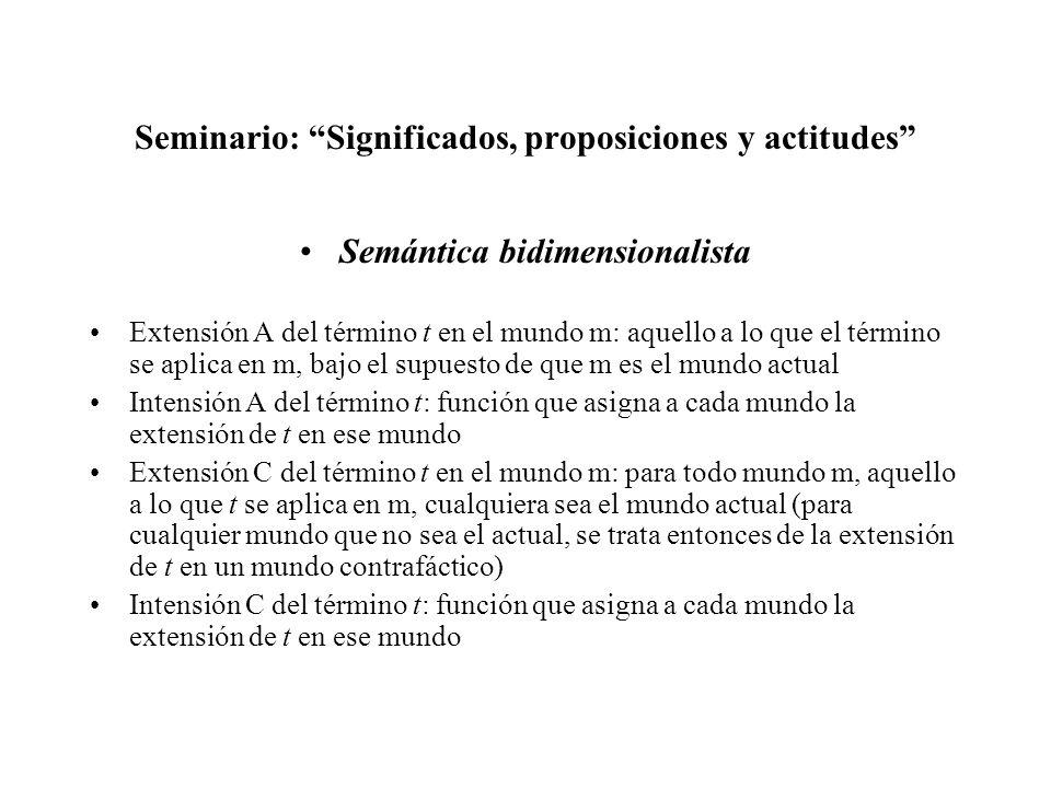 Seminario: Significados, proposiciones y actitudes Semántica bidimensionalista Extensión A del término t en el mundo m: aquello a lo que el término se