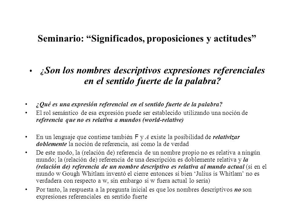 Seminario: Significados, proposiciones y actitudes ¿ Son los nombres descriptivos expresiones referenciales en el sentido fuerte de la palabra? ¿Qué e
