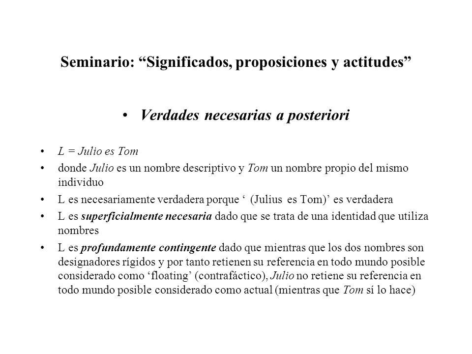 Seminario: Significados, proposiciones y actitudes Verdades necesarias a posteriori L = Julio es Tom donde Julio es un nombre descriptivo y Tom un nom