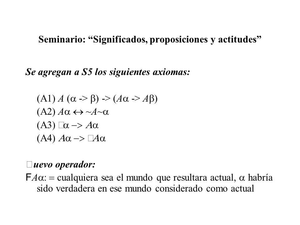 Seminario: Significados, proposiciones y actitudes Se agregan a S5 los siguientes axiomas: (A1) A ( -> ) -> (A -> A ) (A2) A ~A~ uevo operador: F A cu