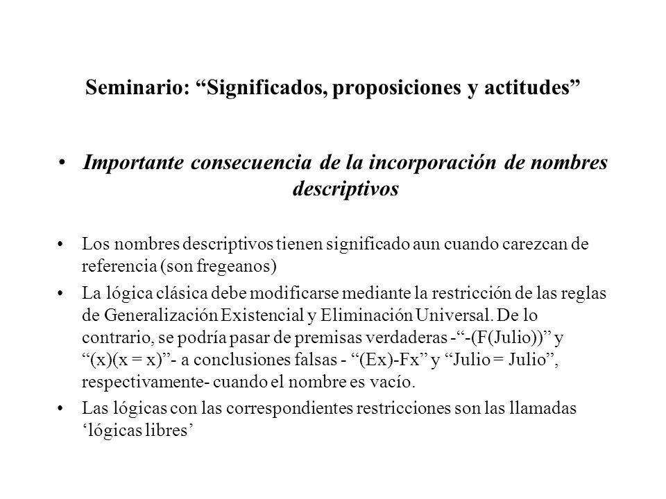 Seminario: Significados, proposiciones y actitudes Importante consecuencia de la incorporación de nombres descriptivos Los nombres descriptivos tienen