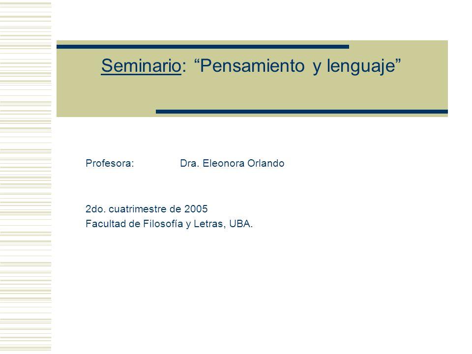 Seminario: Pensamiento y lenguaje En la resolución de las dos primeras, cumple un papel fundamental la distinción entre figuración primaria y figuración secundaria de una frase denotativa.