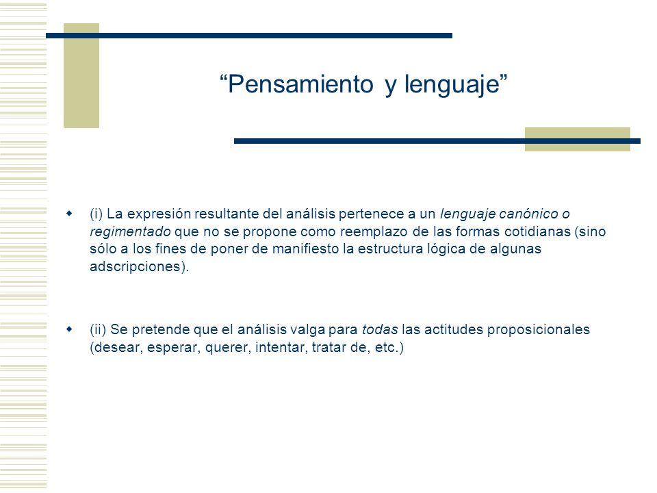 Seminario: Pensamiento y lenguaje De acuerdo con su propuesta de análisis de tales adscripciones, U es equivalente a U: U: (Ex) ( x es maestra de 3er.