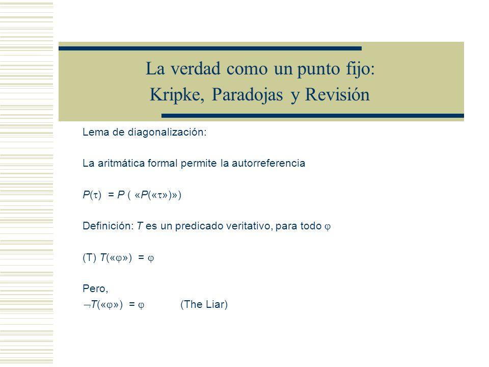 La verdad como un punto fijo: Kripke, Paradojas y Revisión Lema de diagonalización: La aritmática formal permite la autorreferencia P( ) = P ( «P(« »)») Definición: T es un predicado veritativo, para todo (T) T(« ») = Pero, T(« ») = (The Liar)