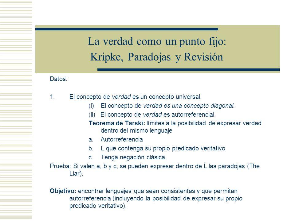 La verdad como un punto fijo: Kripke, Paradojas y Revisión -Punto fijo: interpretación en la cual la extensión de los predicados veritativos no crece (las extensiones están saturadas).