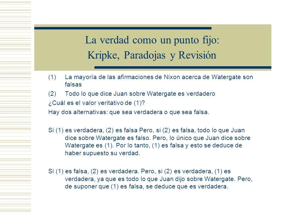 La verdad como un punto fijo: Kripke, Paradojas y Revisión Supongamos que en L tenemos a el mentiroso T(« ») M0 = M0 En el proceso de ir definiendo la extensión y la antiextensión de T, hasta llegar a un punto fijo, el mentiroso nunca llega a ser ni verdadero ni falso.