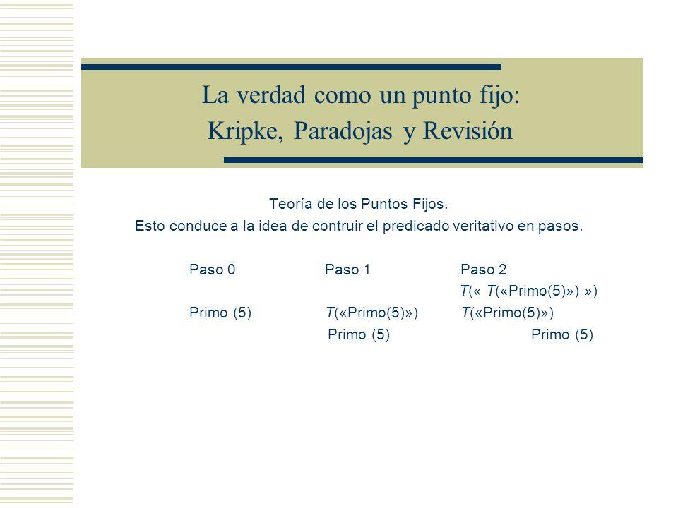 La verdad como un punto fijo: Kripke, Paradojas y Revisión Teoría de los Puntos Fijos.