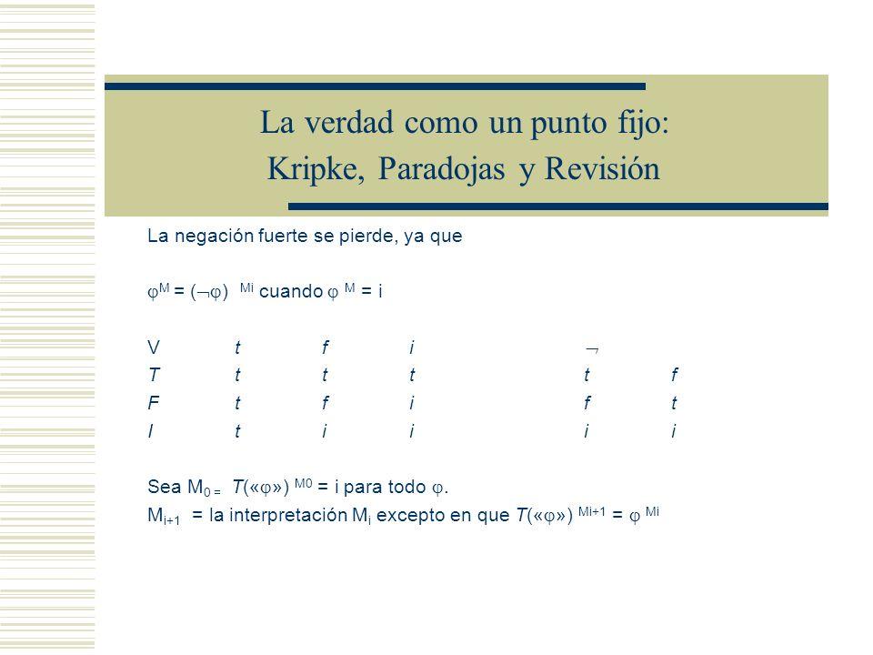 La verdad como un punto fijo: Kripke, Paradojas y Revisión Sea M 0 una interpretación Para todo i N, sea M i + 1 = la interpretación M i excepto en que T(« ») Mi+1 = Mi Una secuencia de interpretaciones M 0, M 1, M 2 M 3 … un punto fijo M i si M i = M i+1 (la secuencia estabiliza en i).