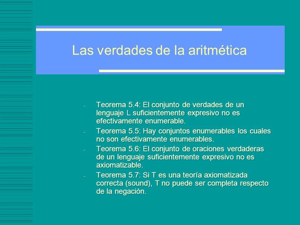 Las verdades de la aritmética - Teorema 5.4: El conjunto de verdades de un lenguaje L suficientemente expresivo no es efectivamente enumerable.