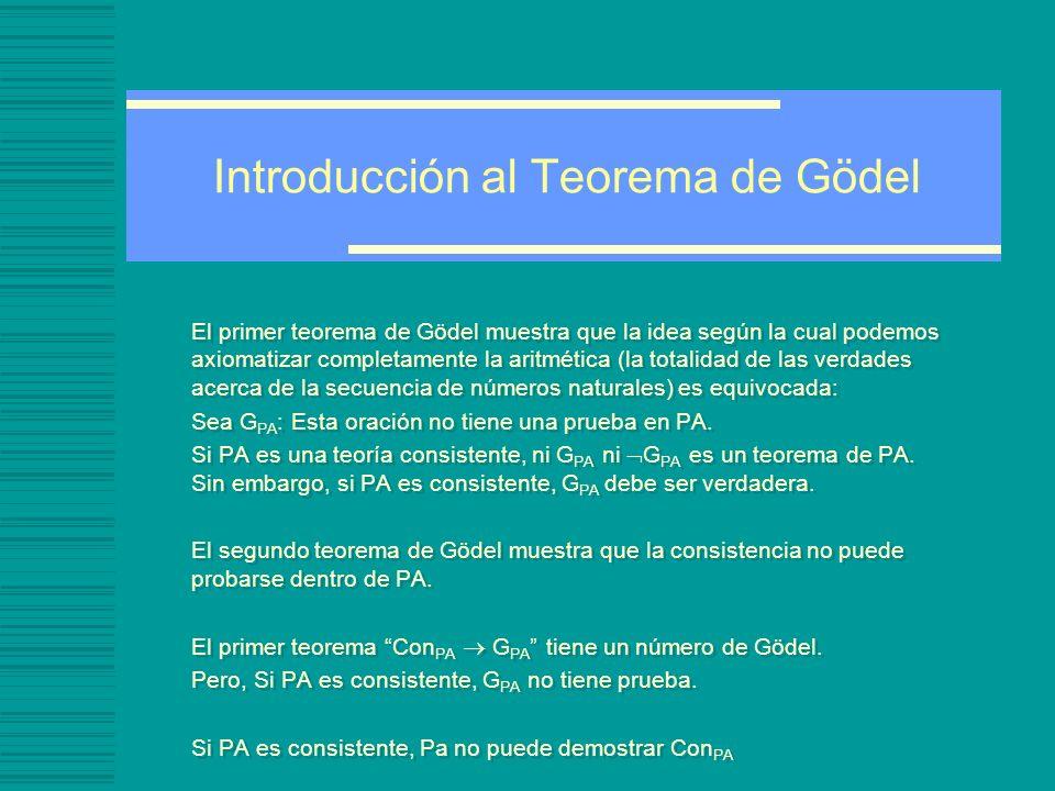 Introducción al Teorema de Gödel El primer teorema de Gödel muestra que la idea según la cual podemos axiomatizar completamente la aritmética (la totalidad de las verdades acerca de la secuencia de números naturales) es equivocada: Sea G PA : Esta oración no tiene una prueba en PA.