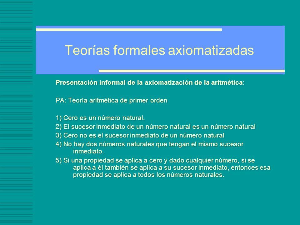 Teorías formales axiomatizadas Presentación informal de la axiomatización de la aritmética: PA: Teoría aritmética de primer orden 1) Cero es un número natural.