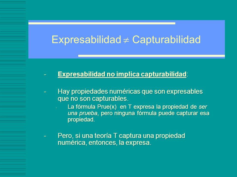 Expresabilidad Capturabilidad -Expresabilidad no implica capturabilidad: -Hay propiedades numéricas que son expresables que no son capturables.