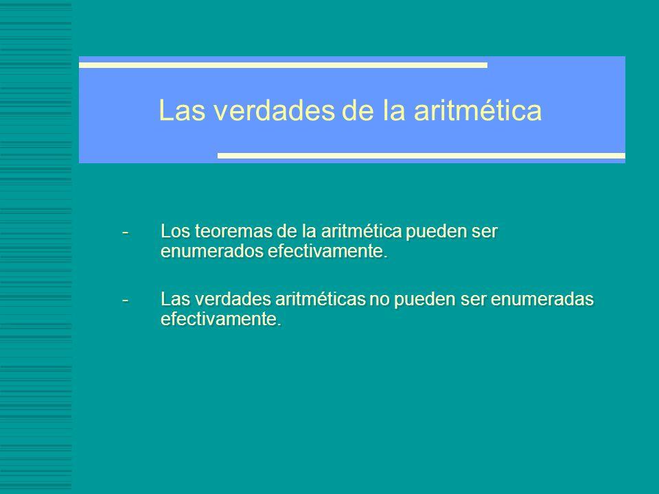 Las verdades de la aritmética -Los teoremas de la aritmética pueden ser enumerados efectivamente.