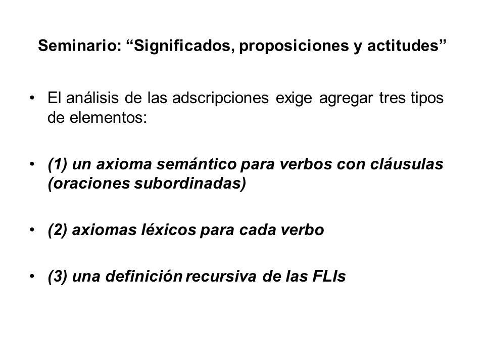 Seminario: Significados, proposiciones y actitudes El análisis de las adscripciones exige agregar tres tipos de elementos: (1) un axioma semántico par