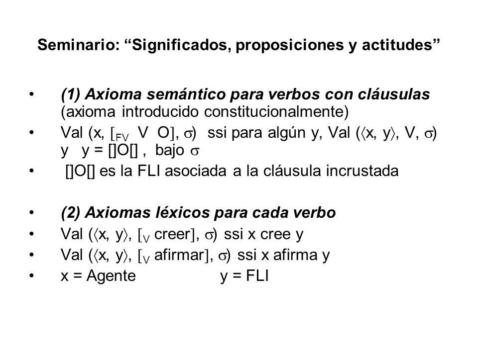 Seminario: Significados, proposiciones y actitudes (1) Axioma semántico para verbos con cláusulas (axioma introducido constitucionalmente) Val (x, FV